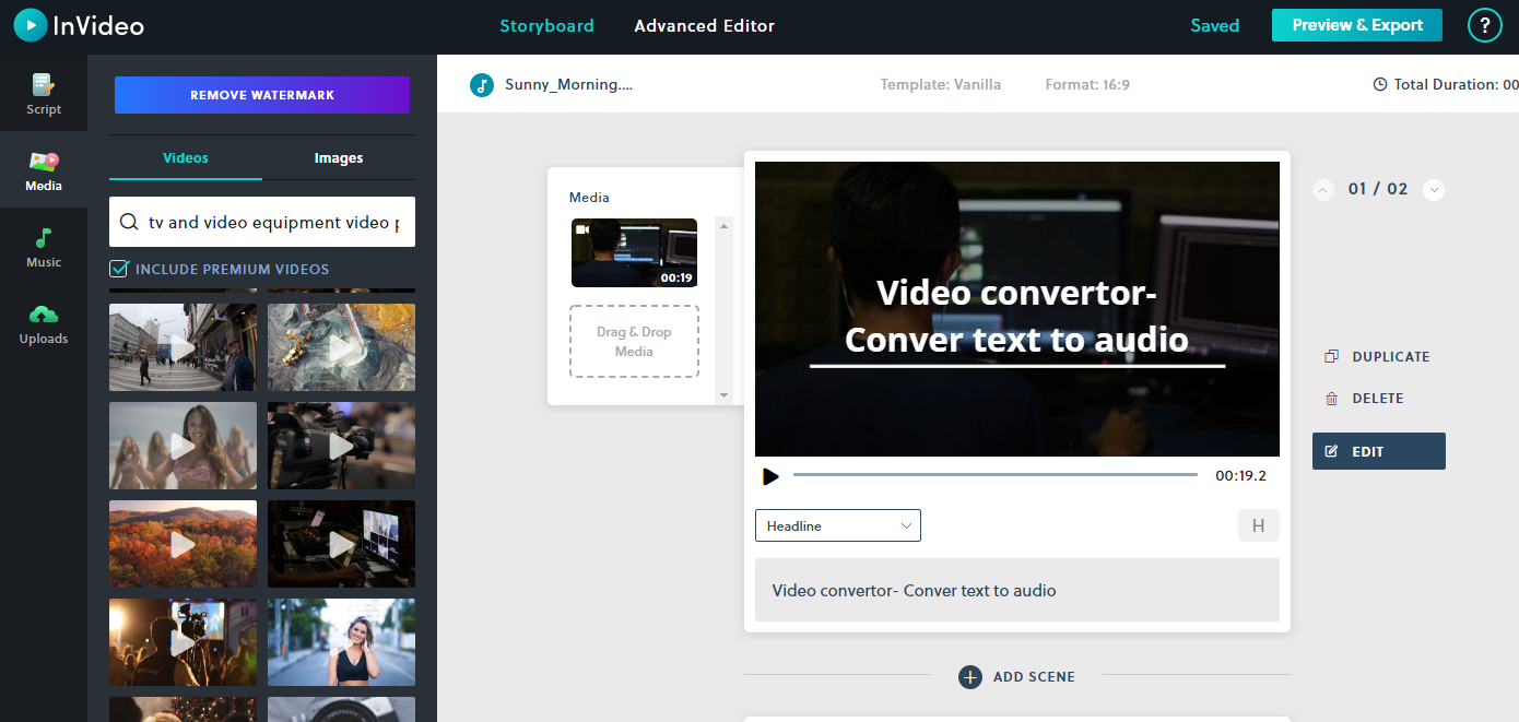 Online text to video converter