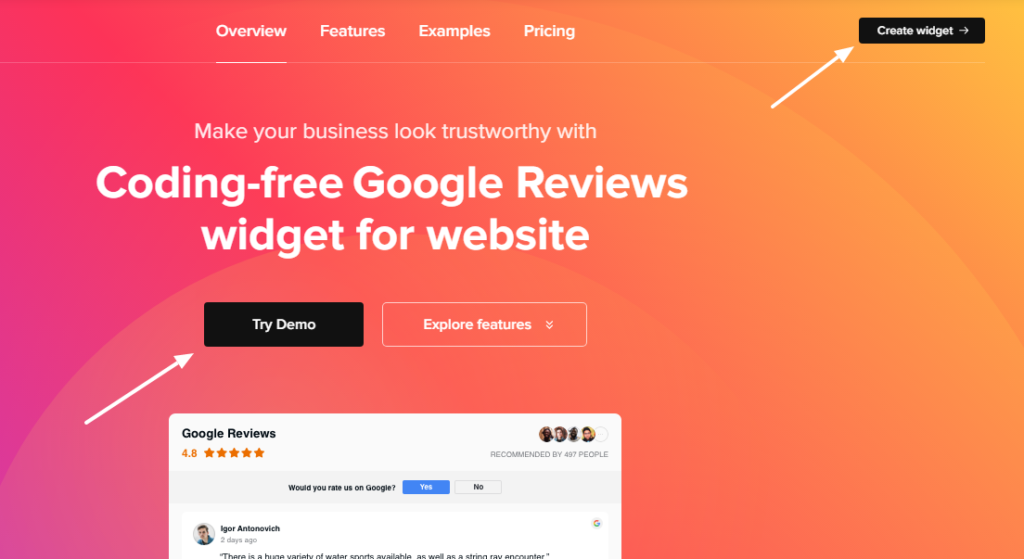 Add google reviews to the website